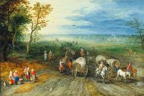 J.Brueghel d.Ae., Landschaft mit Reisend. by AKG  Images
