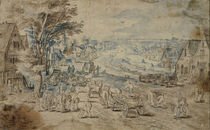 J.Brueghel d.Ae. Umkreis/ Dorf mit Kanal by AKG  Images