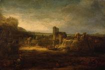 Rembrandt/ Landschaft mit Zugbruecke/1640 von AKG  Images