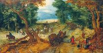 Jan Brueghel d.Ae.,Waldstrasse m.Reisenden von AKG  Images