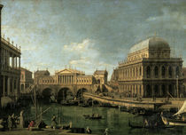 Canaletto, Capriccio mit Ponte di Rialto von AKG  Images