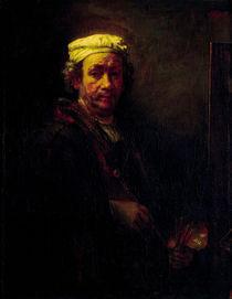 Rembrandt, Selbstbildnis vor Staffelei von AKG  Images