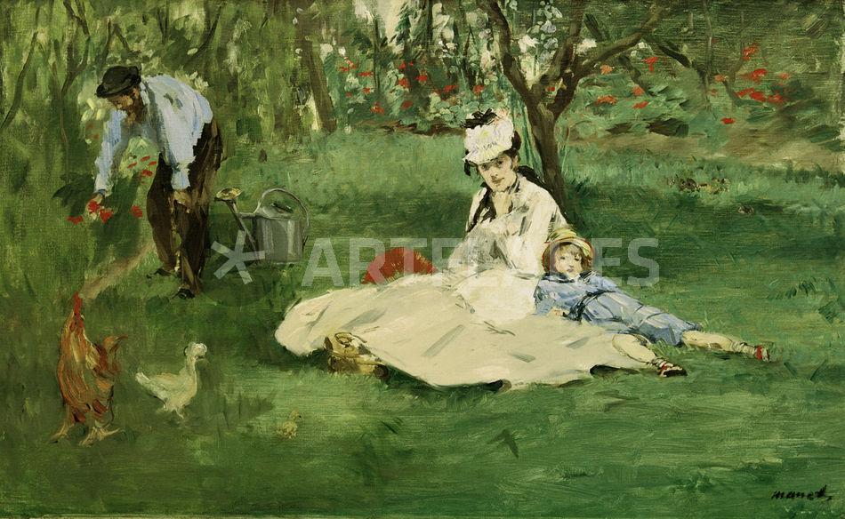 Die familie monet im garten e manet bild als poster und for Au jardin de la famille de fabreville