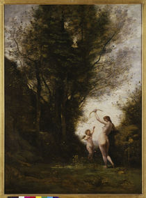 C.Corot, Nymphe mit Amor spielend von AKG  Images