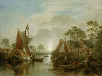 A.Achenbach, Sonnenuntergang am Fluss by AKG  Images