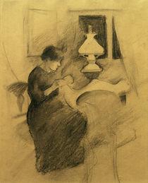 August Macke, Naehendes Maedchen b.d.Lampe von AKG  Images