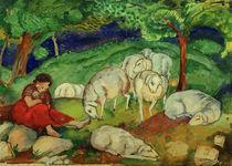 F.Marc, Hirtin mit Schafen von AKG  Images