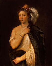 Tizian, Junge Frau mit Federhut von AKG  Images