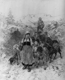 Ludwig Knaus, Junge Hirtin mit Schafen von AKG  Images