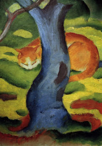 Franz Marc, Katze hinter einem Baum by AKG  Images