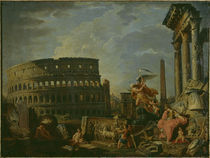 G.P.Pannini, Ruinen mit Kolosseum von AKG  Images