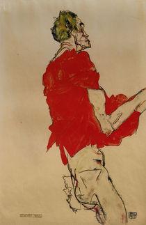 E.Schiele, Stehender Mann mit rot.Tuch von AKG  Images