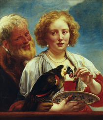 J.Jordaens/ Junge Frau mit altem Mann von AKG  Images