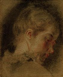 A.Watteau, Kopf einer jungen Frau by AKG  Images