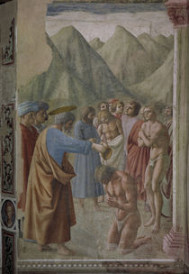 Masaccio, Petrus tauft Neophyten by AKG  Images