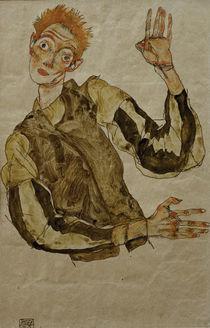 Egon Schiele, Selbstbildnis Aermelschoner by AKG  Images