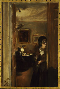 A.von Menzel, Wohnzimmer mit Schwester by AKG  Images