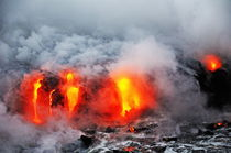 Steam rising off lava flowing into ocean, Kilauea Volcano, Hawaii Islands, United States by Sami Sarkis Photography