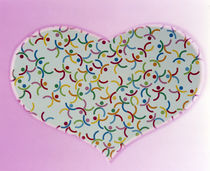 Heart filled with multicolored dancing stick figures on pink background by Panoramic Images