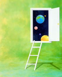 Open white door with spheres and white ladder on green background by Panoramic Images