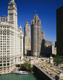 Buildings in a city, Wrigley Building, Chicago, Illinois, USA by Panoramic Images