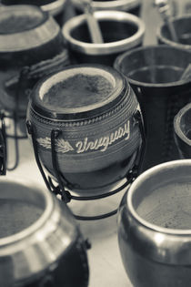 Mate cups at a market stall, Plaza Constitucion, Montevideo, Uruguay by Panoramic Images