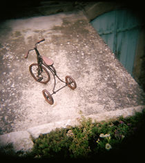 High angle view of antique tricycle, Provence, France by Panoramic Images