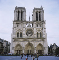People walking in front of a cathedral, Notre Dame De Paris, Paris, France by Panoramic Images