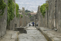Tourists at old ruins, via di Mercurio, Pompeii, Naples, Campania, Italy von Panoramic Images