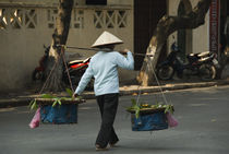 Vietnamese woman carrying oranges for sale, Hanoi, Vietnam von Panoramic Images