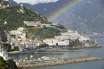 Rainbow over a town, Almafi, Amalfi Coast, Campania, Italy von Panoramic Images