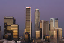 Skyscrapers at dusk, Los Angeles, California, USA by Panoramic Images