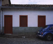 Car parked in front of a house, Ouro Preto, Minas Gerais, Brazil by Panoramic Images