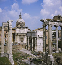 Old ruins in a city, Roman Forum, Rome, Italy