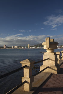 Railing at the seaside, Playa Piriapolis, Piriapolis, Maldonado, Uruguay by Panoramic Images