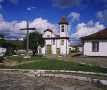 Crucifix in front of a church, Diamantina, Minas Gerais, Brazil by Panoramic Images