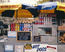 Food products for sale at a street vendor, New York State, USA von Panoramic Images