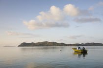 Small boat in a bay, Anse Possession Bay, Praslin Island, Seychelles by Panoramic Images