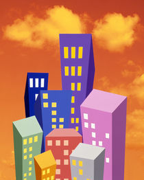 Multi colored abstract high rise buildings with bright orange sky and clouds von Panoramic Images