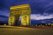 Arc De Triomphe Illuminated At Night by Panoramic Images