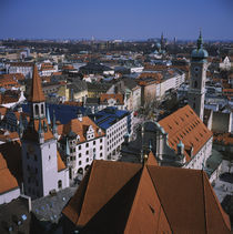 High angle view of buildings in a city, Munich, Bavaria, Germany by Panoramic Images