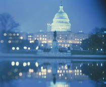 Government building lit up at night, Capitol Building, Washington DC, USA by Panoramic Images