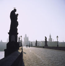 Low angle view of statues on a bridge, Charles Bridge, Prague, Czech Republic von Panoramic Images