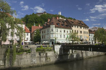 Buildings at the waterfront, Ljubljanica River, Ljubljana, Slovenia by Panoramic Images