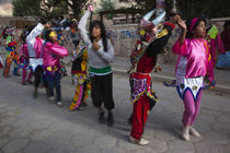 Children performing in a carnival, Tilcara, Quebrada De Humahuaca, Argentina by Panoramic Images