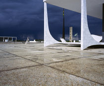 Storm clouds over buildings, National Congress building, Brasilia, Brazil by Panoramic Images