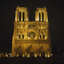 Facade of a cathedral lit up at night, Notre Dame De Paris, Paris, France von Panoramic Images