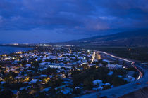 High angle view of a city at dusk, St. Paul, Reunion Island by Panoramic Images