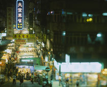 High angle view of a market lit up at night von Panoramic Images
