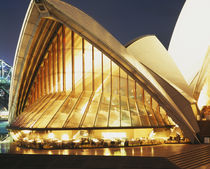 Building lit up at night, Sydney Opera House, Sydney, Australia by Panoramic Images